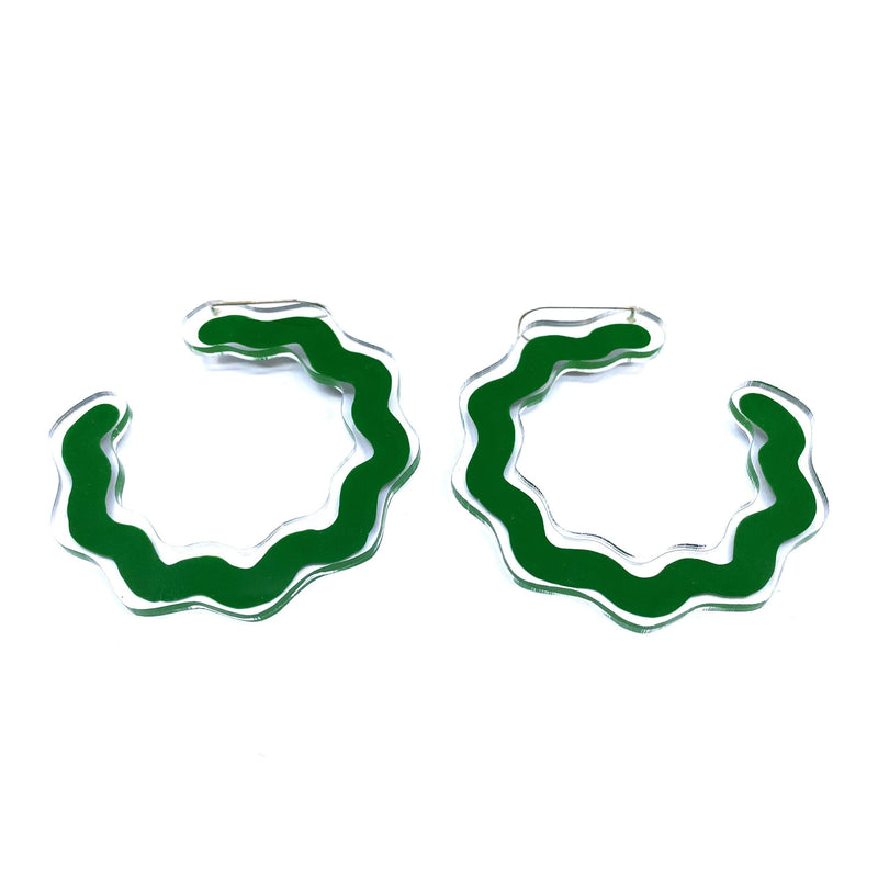 Dorkus Design — Green Curvy Earrings - Australian made Jewellery