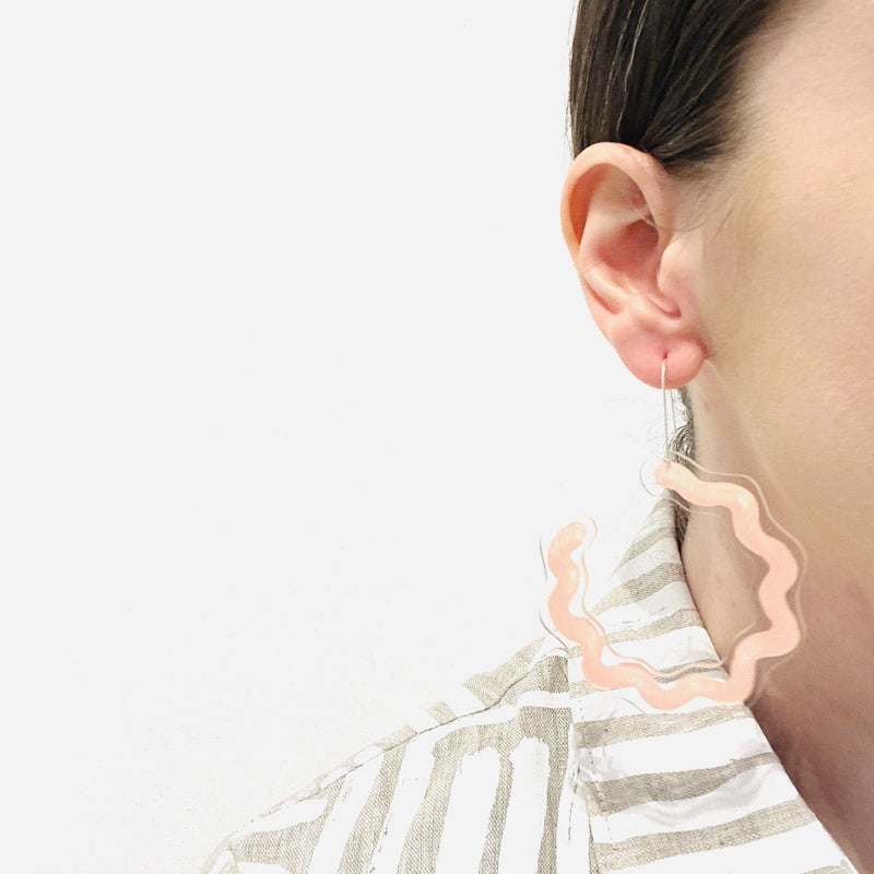 Dorkus Design — Pink Curvy Earrings - Australian made Jewellery
