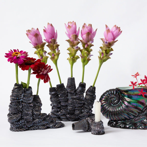 Ebony Russell — 'Midnight Quintal Flower Vase' | Sculpture Ceramics Ebony Russell | Craft