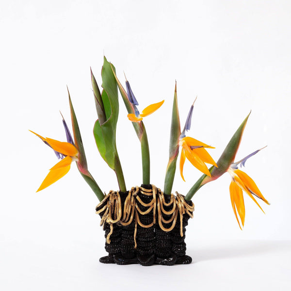 Ebony Russell — Midnight Quintal Sculptural Flower Vase With Gold Lustre Ceramics Ebony Russell | Craft