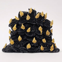 Ebony Russell — 'Quintal Flower Vase' Sculpture with Gold Twirls Ceramics Ebony Russell | Craft