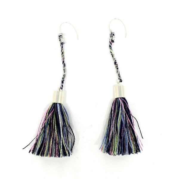 Elise Cakebread — Concentric Eccentric Drop Tassel Earrings in Blue - Australian made Jewellery