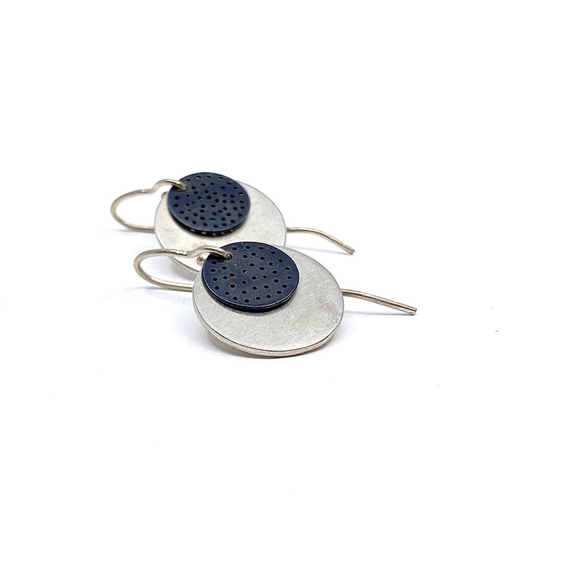Elizabeth Kennedy — Oxidised Silver Hand-perforated Earrings - Australian made Jewellery