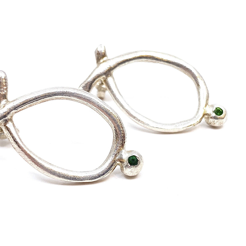 Elizabeth Kennedy — Silver and Green Sapphire Stud Earrings - Australian made Jewellery