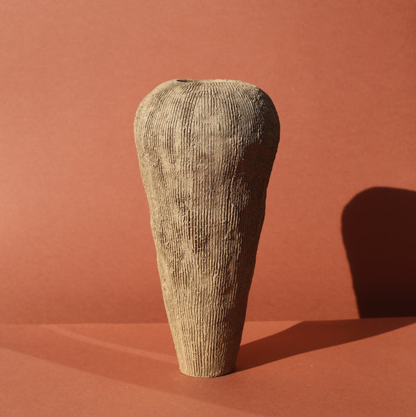 Ella Bendrups — Extra Tall Brown Stoneware 'Solcare' Vase | Sculpture - Australian made Ceramics