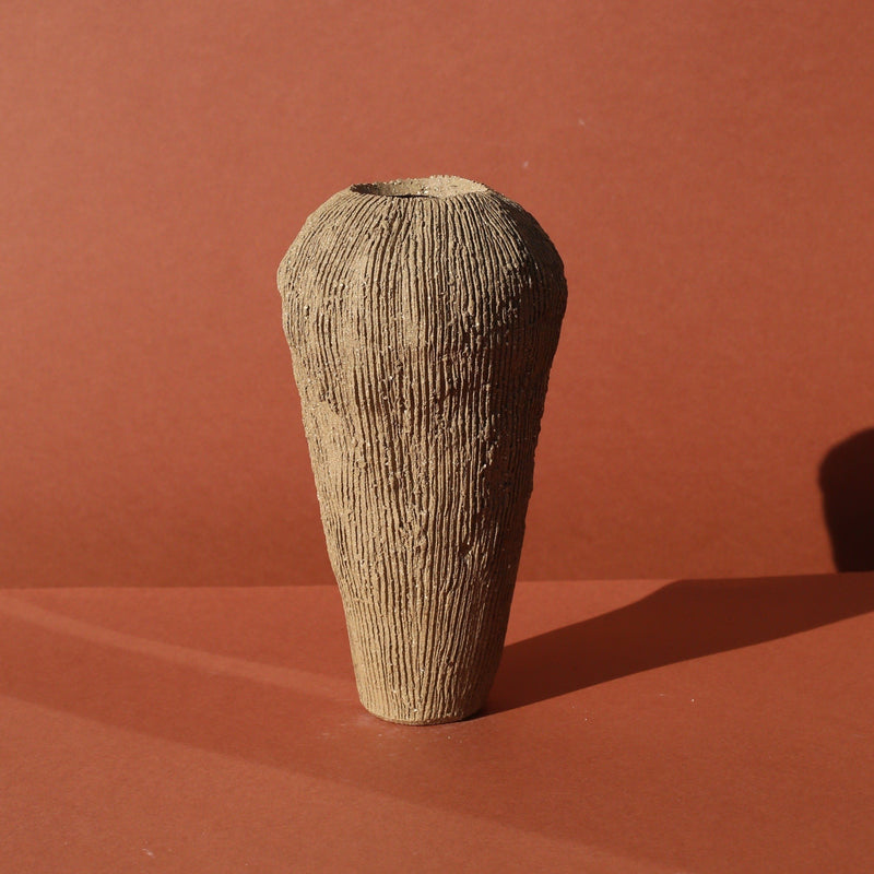 Ella Bendrups — Medium Brown Stoneware 'Solcare' Vase | Sculpture - Australian made Ceramics