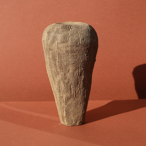 Ella Bendrups — Tall Brown Stoneware 'Solcare' Vase | Sculpture - Australian made Ceramics