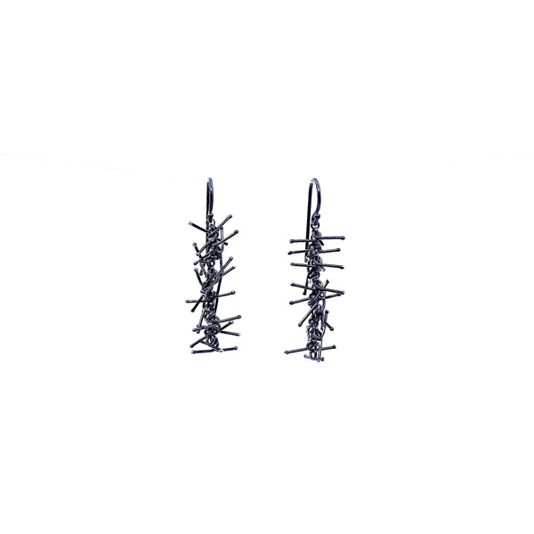 Felicity Large — 3.5cm Oxidised Silver Earrings - Australian made Jewellery