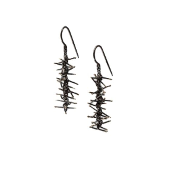 Felicity Large — 4.5cm Oxidised Silver Earrings - Australian made Jewellery