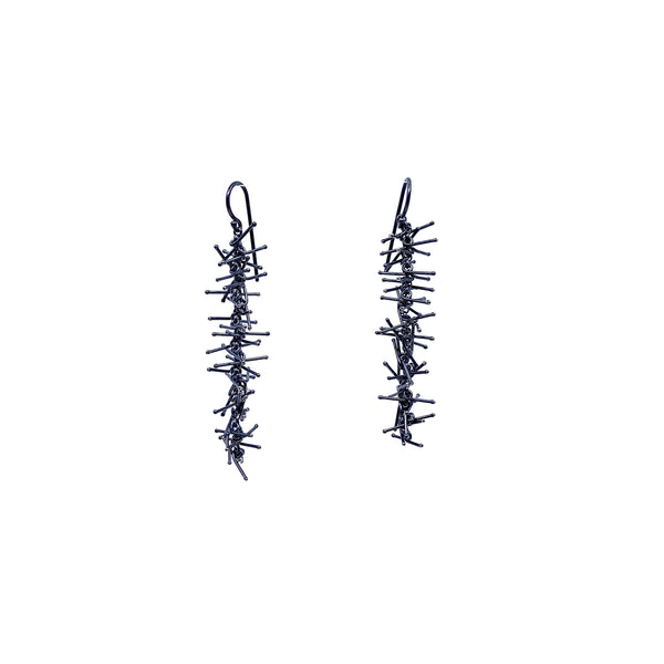 Felicity Large — 6.5cm Oxidised Silver Earrings - Australian made Jewellery