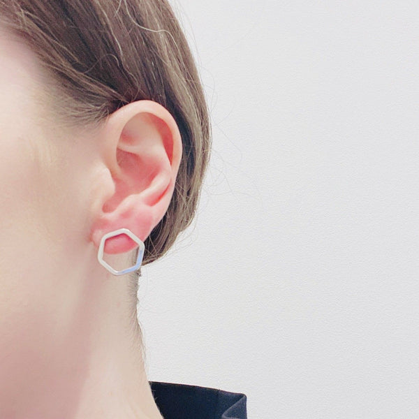 Felicity Large — 'Floating Hexagon' Stud Earrings - Australian made Jewellery