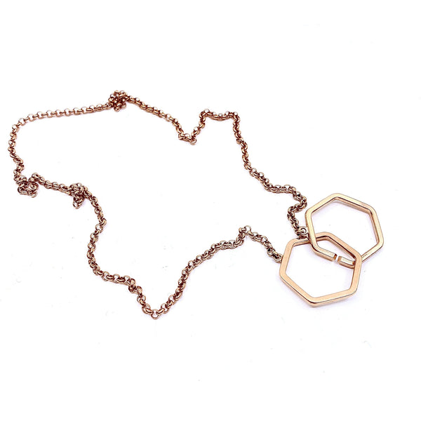Felicity Large — Rose Gold 'Hexagons in Love' Necklace - Australian made Jewellery