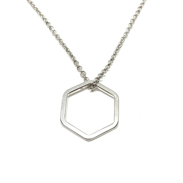 Felicity Large — Silver Floating Hexagon Necklace - Australian made Jewellery