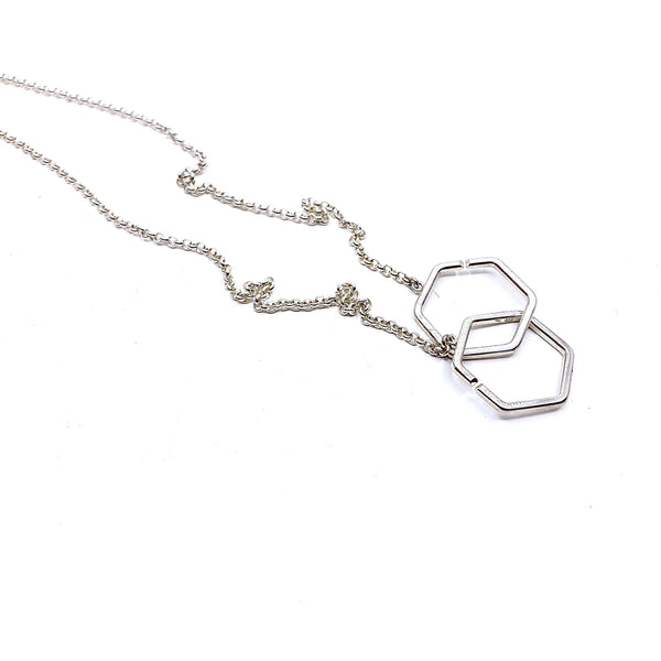 Felicity Large — Silver Hexagon Necklace - Australian made Jewellery