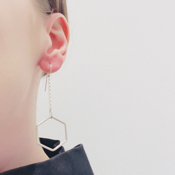 Felicity Large — 'Suspended Hexagon' Hook Earrings - Australian made Jewellery