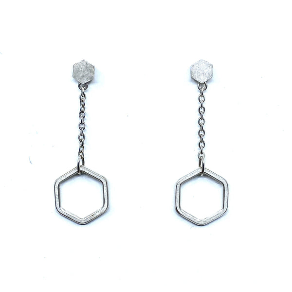 Felicity Large — 'Suspended Hexagon' Stud Earrings - Australian made Jewellery