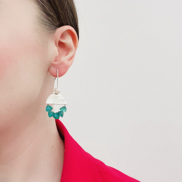 Fiona Watkins — Half Circle Green Onyx with Pearl Earrings Jewellery Caracus by Fiona Watkins | Craft