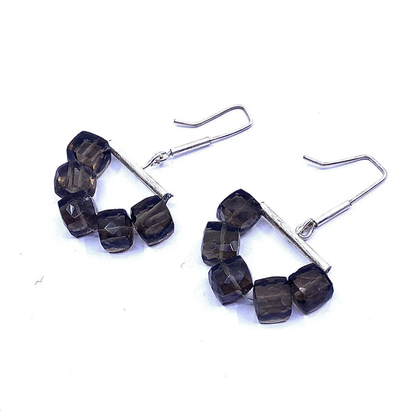 Fiona Watkins — Smokey Quartz Hanging Cube Earrings Jewellery Caracus by Fiona Watkins | Craft