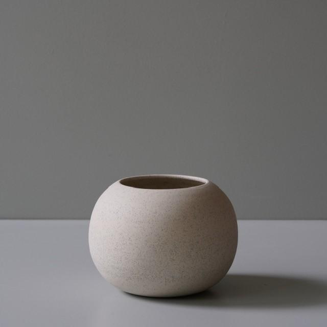 Ghost Wares — Limited Edition Small Round Vase in White Speckle vessel coffee Ghost Wares | Craft