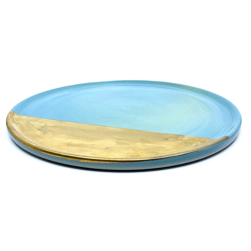 Ingrid Tufts — Limited Edition Blue Serving Plate with Gold Lustre - Australian made Ceramics