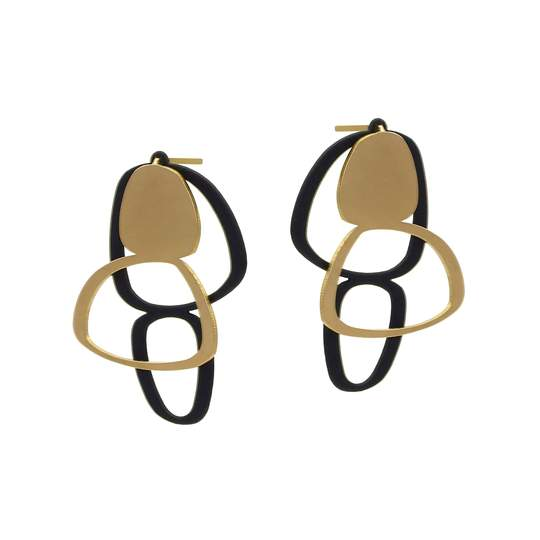 inSync design — Boulder Stud Earrings in 22ct Matt Gold Plate and Black Jewellery Insync Designs | Craft