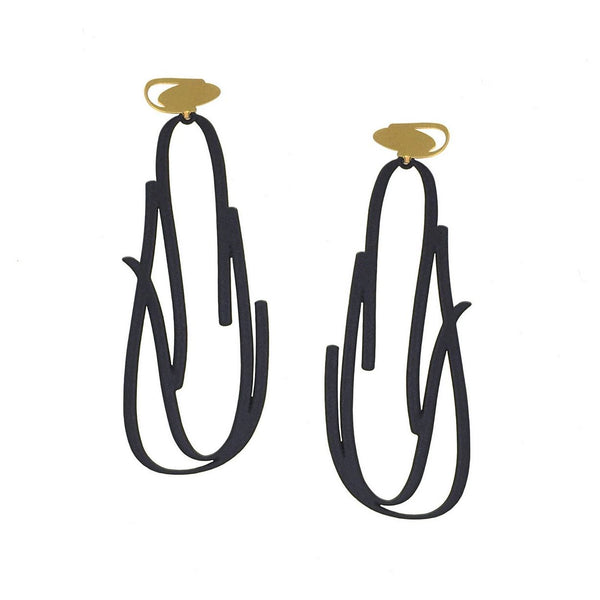inSync design — X2 Flint Earrings in Gold/Black - Australian made Jewellery