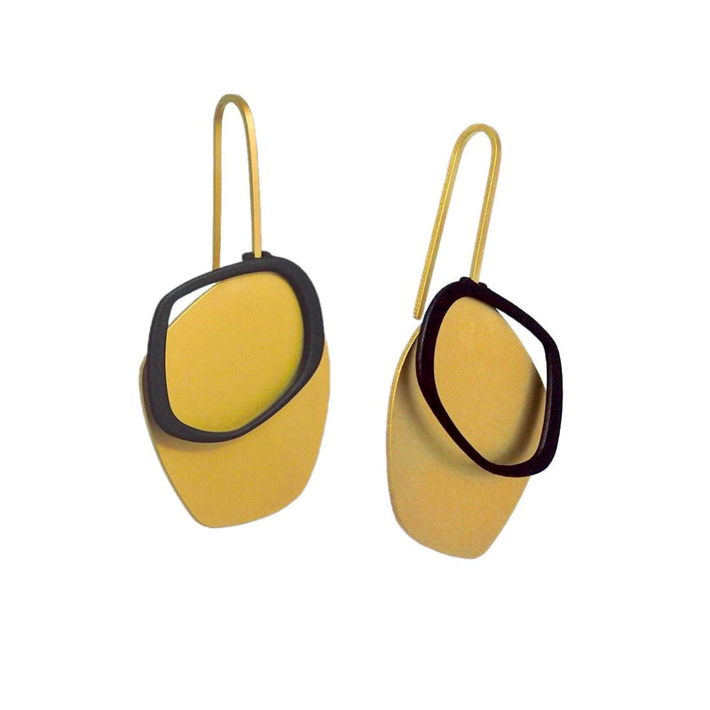 inSync design — X2 Small Solid Earrings in Gold/Black - Australian made Jewellery