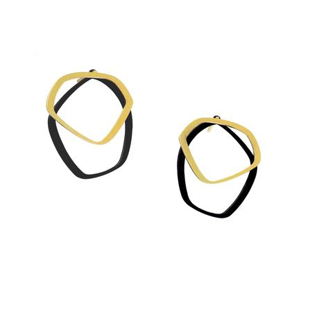 inSync design — X2 Small Stud Earrings in Gold/Black - Australian made Jewellery