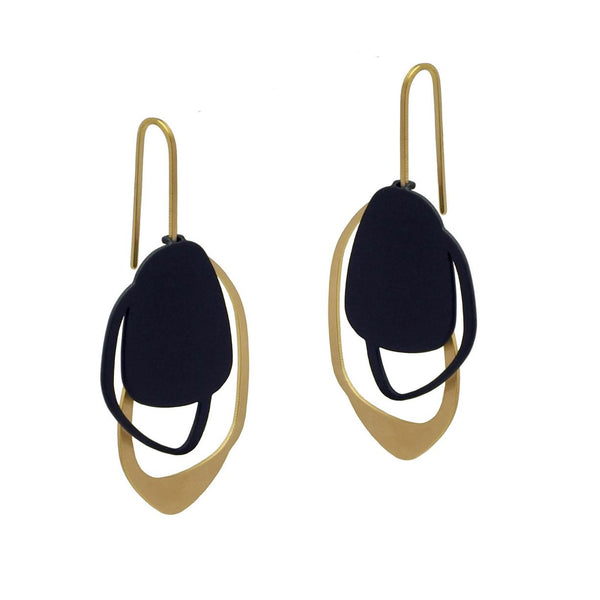 inSync design — X2 Stone Earrings in Gold/Black - Australian made Jewellery