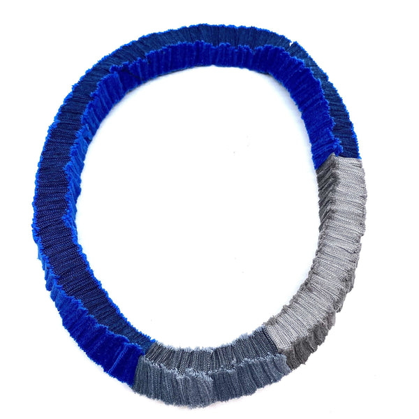 Isabel Avendano-Hazbun — Blue and Grey Tare Series Necklace - Australian made Textiles