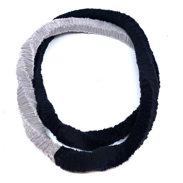 Isabel Avendano-Hazbun — Grey and Black Tare Series Necklace - Australian made Textiles