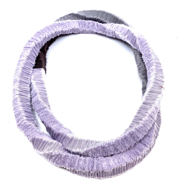 Isabel Avendano-Hazbun — Purple and Grey Tare Series Necklace - Australian made Textiles