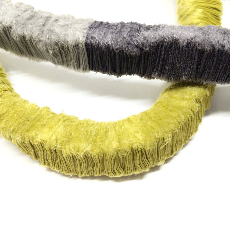 Isabel Avendano Hazbun — Tare Series Necklace in Mustard, Grey, and Silver Textiles Isabel Avendano Hazbun | Craft