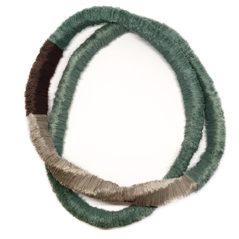 Isabel Avendano Hazbun — Tare Series Necklace in Teal, Grey, and Silver - Australian made Textiles