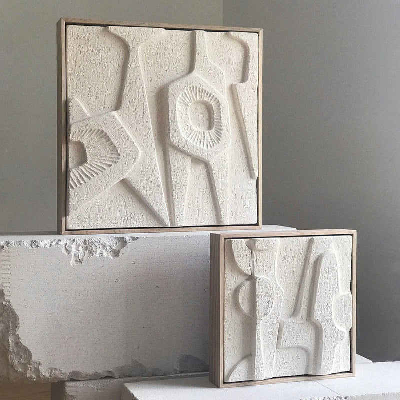 Jan Vogelpoel — Large Brutalist Abstract Tile in Coarse Warm White Sculpture Clay Ceramics Jan Vogelpoel | Craft