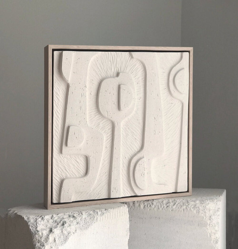 Jan Vogelpoel — White Eroded Abstract Tile Sculpture - Australian made