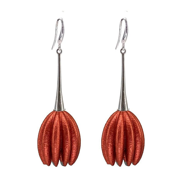 Jenny Fahey — Long Hula Earrings in Rust Jewellery Jenny Fahey | Craft