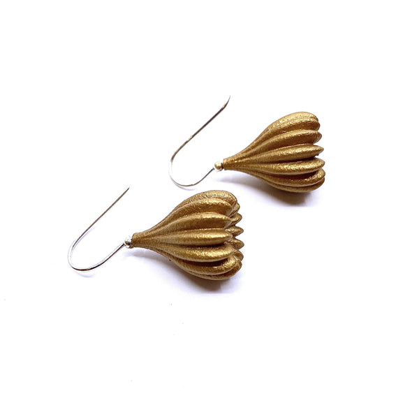 Jenny Fahey — Medium Gold Pod Drop Earrings - Australian made Jewellery