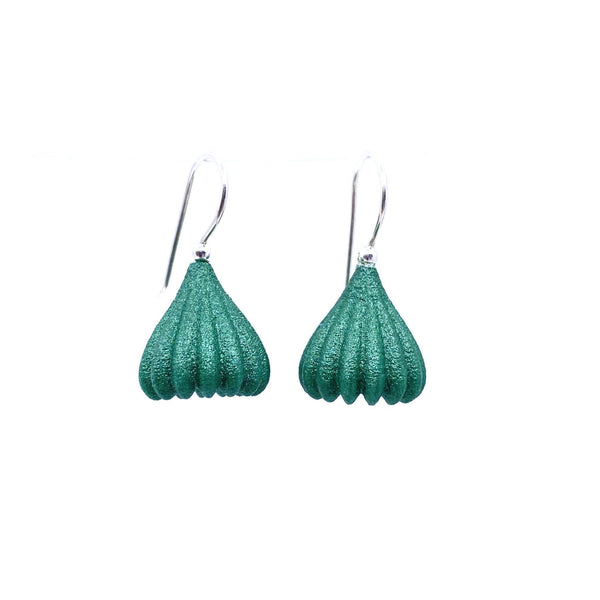 Jenny Fahey — Small Green Pod Drop Earrings - Australian made Jewellery