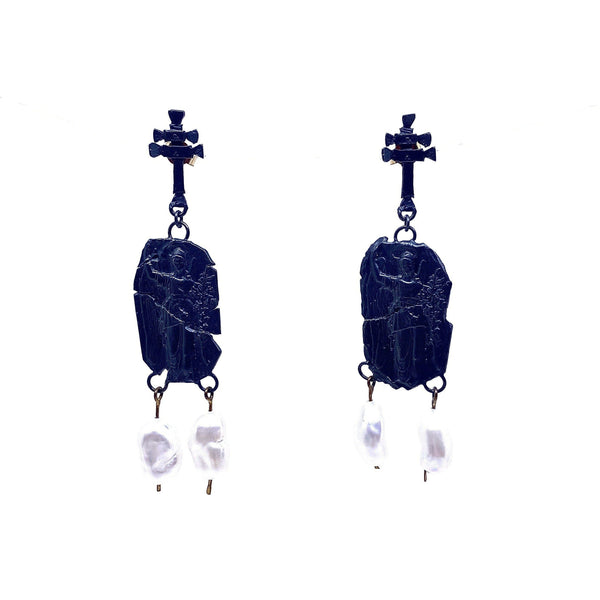 Juan Castro — Oxidised Silver Earrings with Pearls Jewellery Juan Castro | Craft