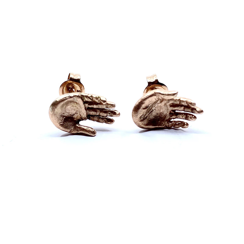 Justine Austen — Pink Gold Hand Stud Earrings - Australian made Jewellery