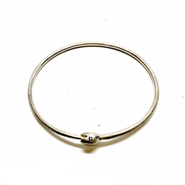 Karla Way — Silver and Sapphire Hungry Eyes Snake Bangle - Jewellery - Craft