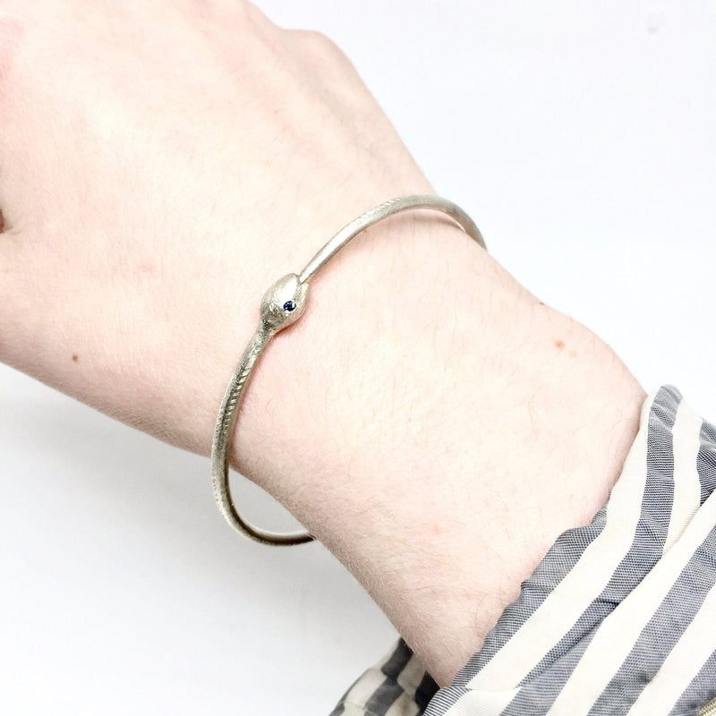 Karla Way — Silver and Sapphire Hungry Eyes Snake Bangle - Australian made Jewellery