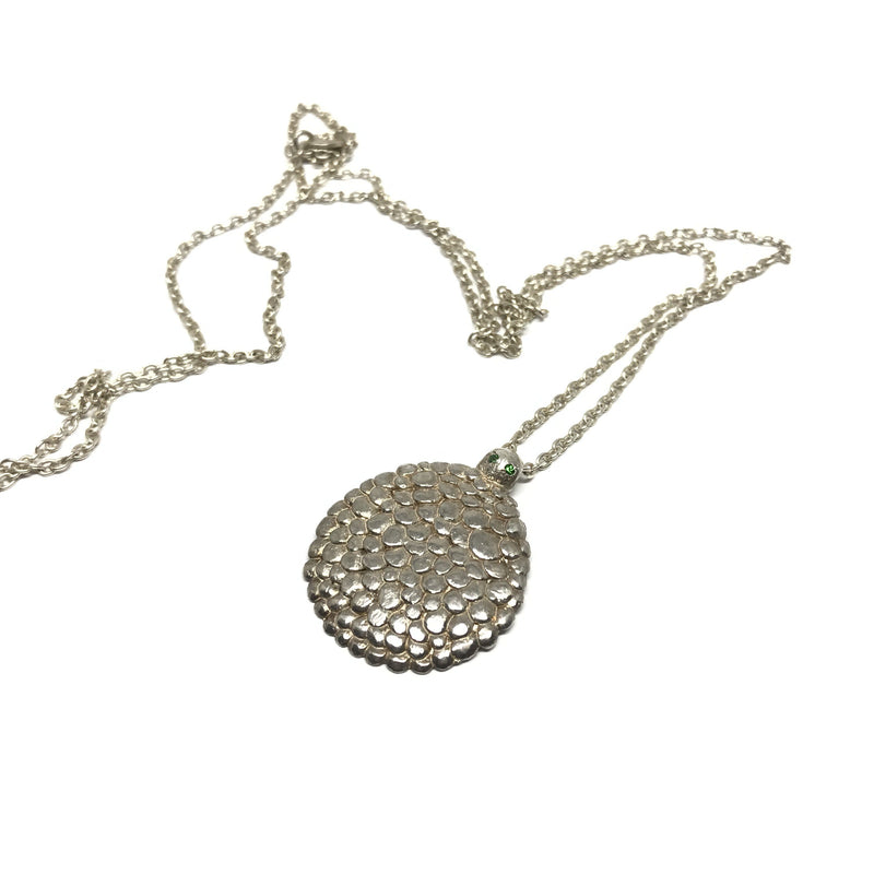Karla Way — Silver Scaled Turtle Pendant with Green Australian Sapphires - Australian made Jewellery