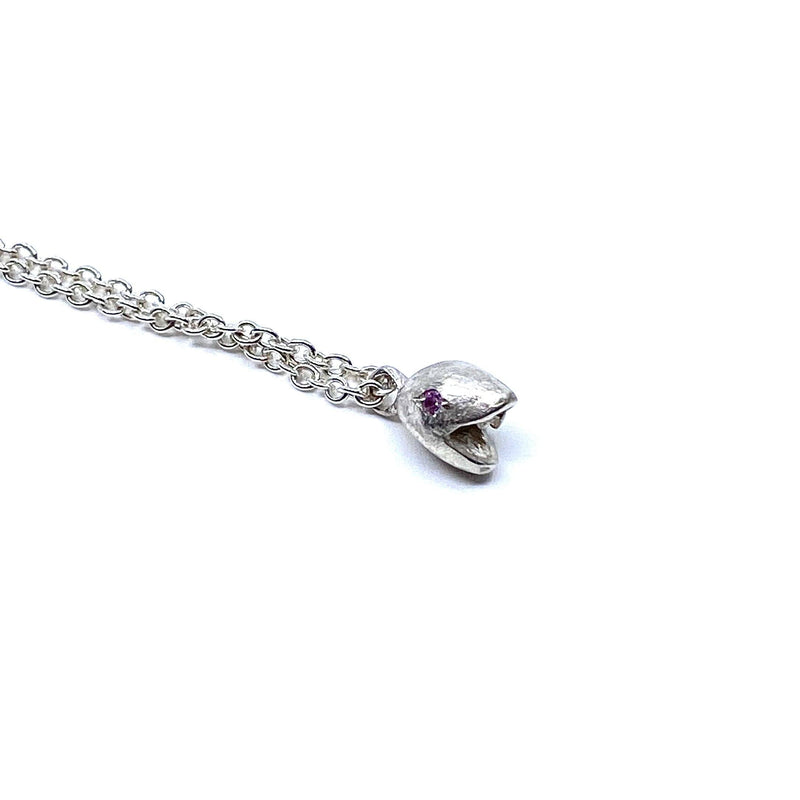 Karla Way — Silver 'Snake' Pendant set with Pink Sapphires - Australian made Jewellery