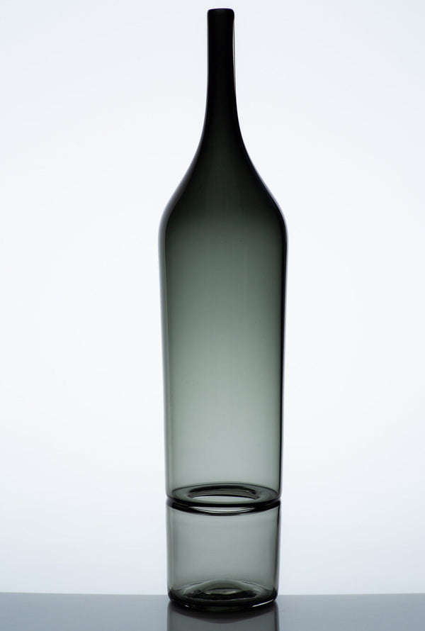 Katie-Ann Houghton — Large Smoke Grey 'Drop Bottle' Sculpture | Vase - Australian made Glass