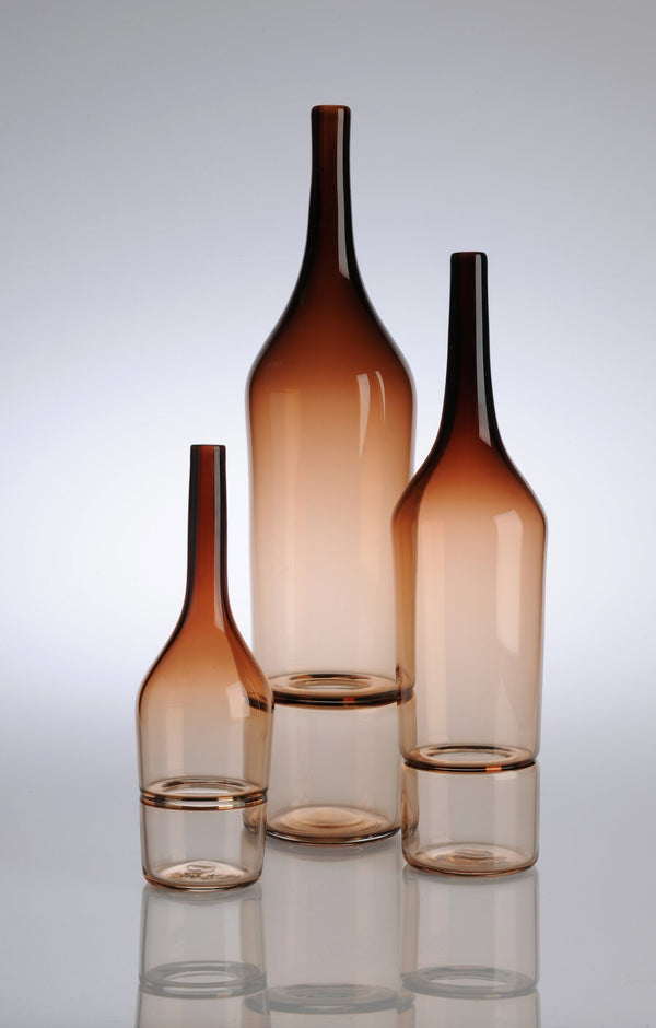Katie-Ann Houghton — Large Tea 'Drop Bottle' Glass Sculpture | Vase - Australian made Glass
