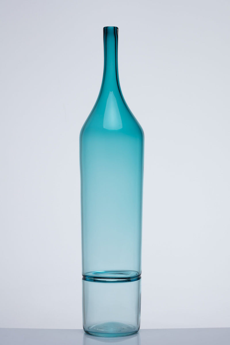 Katie-Ann Houghton — Large Teal 'Drop Bottle' Glass Sculpture | Vase - Australian made Glass
