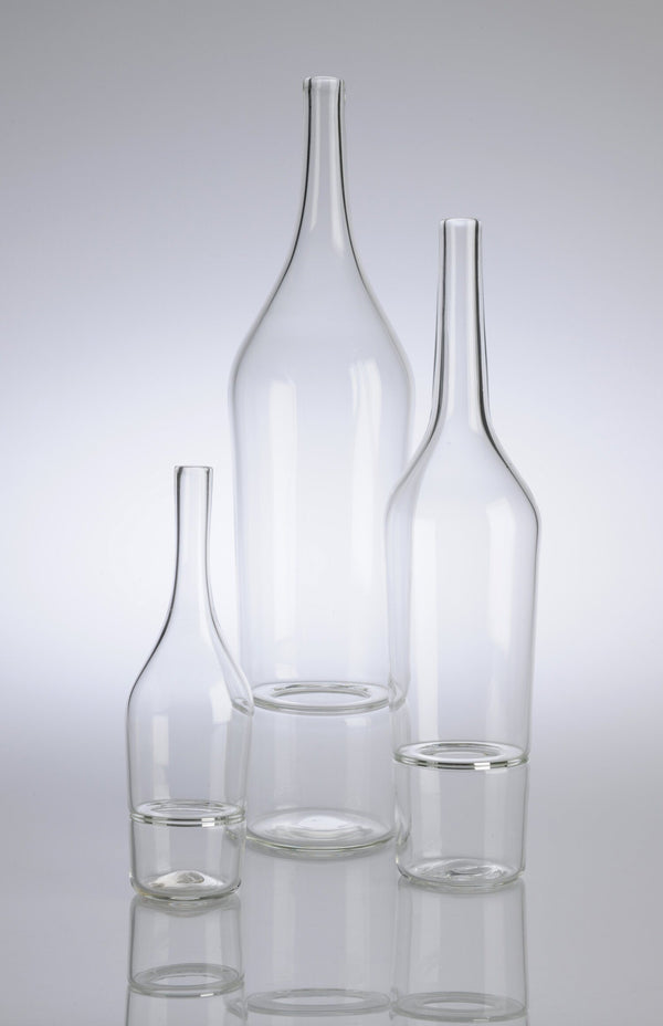 Katie-Ann Houghton — Small Clear 'Drop Bottle' Sculpture | Vase - Australian made Glass