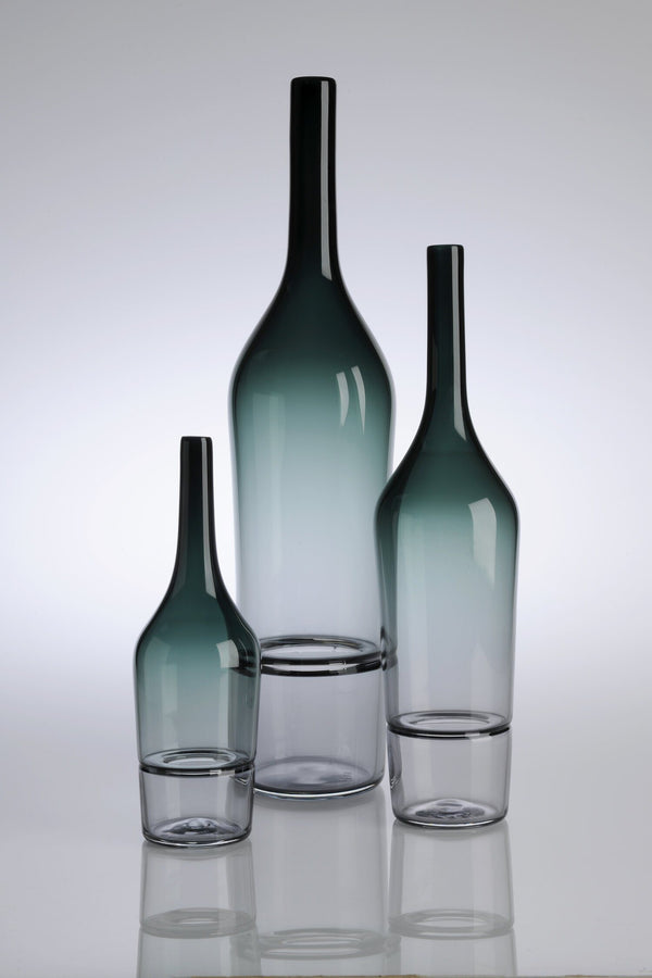 Katie-Ann Houghton — Small Smoke Grey 'Drop Bottle' Sculpture | Vase - Australian made Glass